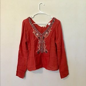 Poppy Red Beaded Boho Embroidered Tunic Top